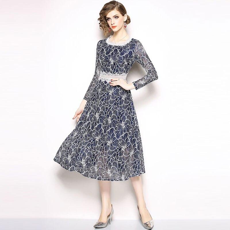 Borisovich Luxury Lace Elegant Party Dress New 2018 Autumn Vintage England Style A-line Slim Women Casual Long Dresses N260