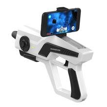 Shinecon pistola de ar somatossensorial inteligente bluetooth lidar com o jogo de telefone realidade aumentada exato tiro brinquedos descompressão