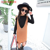 Autumn New 2017 Girls Two Piece Set Knitted Sweater Vest Children Fashion Korean Clothes Sets Kids