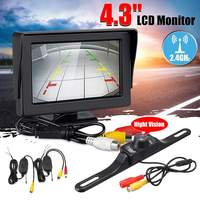 4.3 12V LCD Monitor IR Night Vision Reversing Camera Wireless Car Rear View Backup Cam Parking Mirror Kit