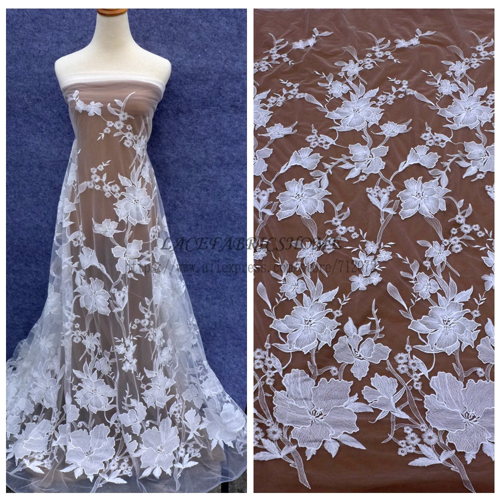 Off white big flowers wedding dress lace fabric net lace for Wedding dress lace fabric