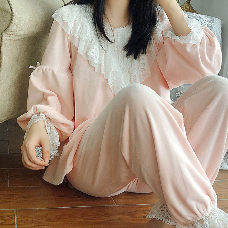 High Quality Thick Flannel Solid Women's Pajamas Sets Autumn Winter Vintage Sweet Female Pyjamas Long Sleeve Sleepwear  2227