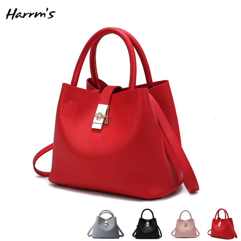HOT 2018 Fashion Candy Women Bags Ladies Handbag 4 Colors PU Leather High Quality Luxury Shoulder Bucket Bag Female Casual Tote