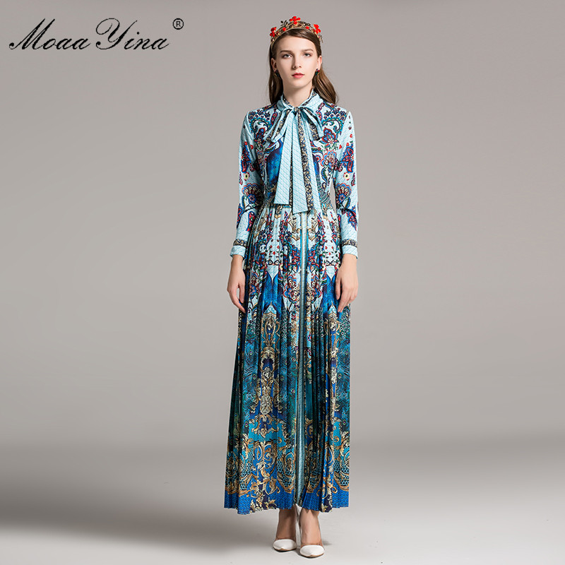 MoaaYina Fashion Designer Runway Classical Maxi Dress Spring Women Long sleeve Ribbon Print Peacock Pleated Exotic