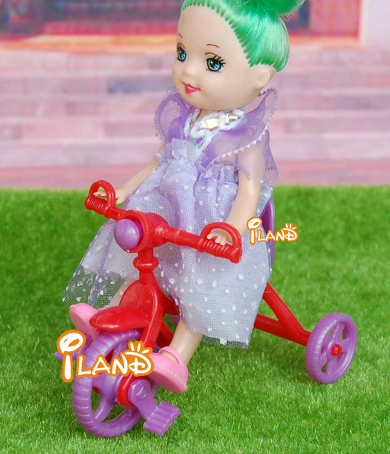 iland 1/12 Dollhouse Miniature Vehicle Plastic colorful Child's Tricycle HE001 Free Shipping Classic toys