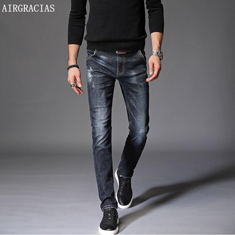 8001c14d3f Vaqueros Marca Airgracias Oscuro Azul De Pantalones Dark Ajustados Hombre  Color Algodón 38 Blue Elásticos Para ...