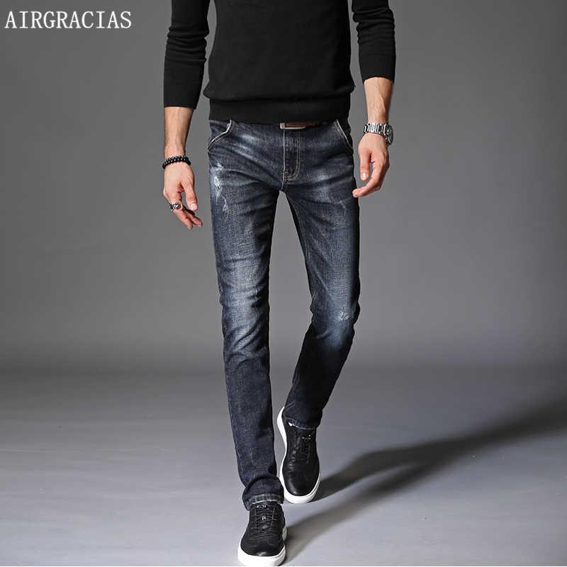 AIRGRACIAS 2018 新しい男性スキニーコットンジーンズストレッチファッションクラシックダークブルースリムブランド男性のズボンプラスサイズ 34 36 38
