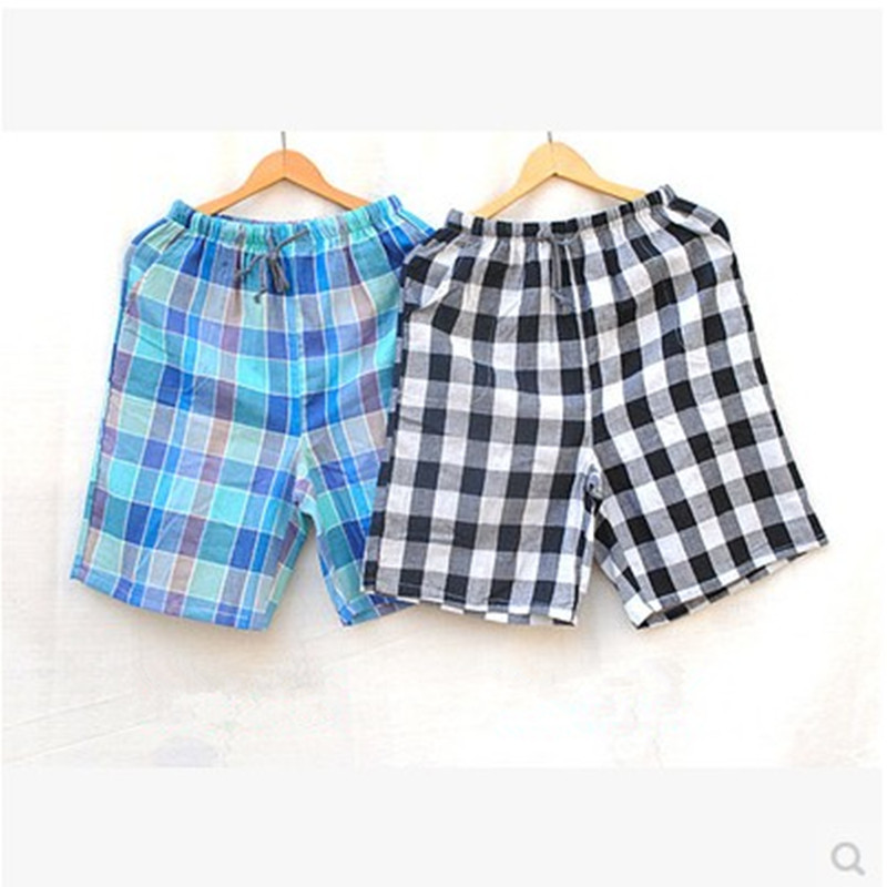 Sleep pants Men  Double gauze shorts Plaid Beach pants sleep Bottoms Cotton shorts