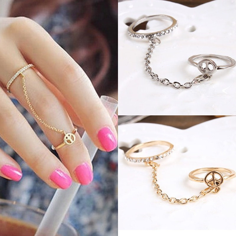 Link Chain Jewelry Two-Finger-Rings Trend Gold Silver Wedding-Love Vintage Women