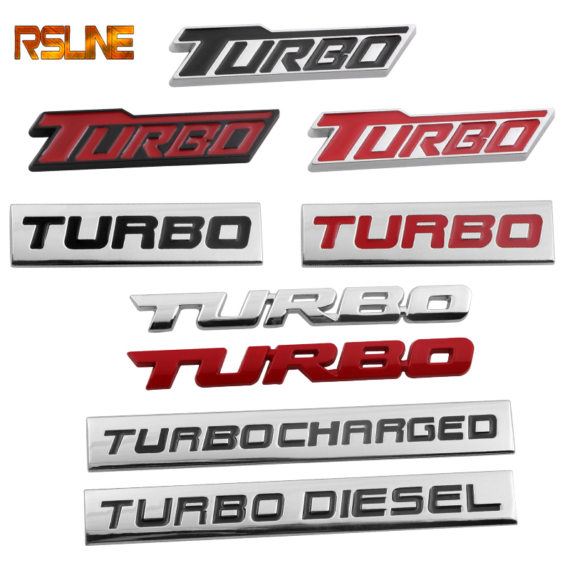 3D Car Styling Sticker Metal TURBO Emblem Body Rear Tailgate Badge For Ford Focus 2 3 ST RS Fiesta Mondeo Tuga Ecosport Fusion