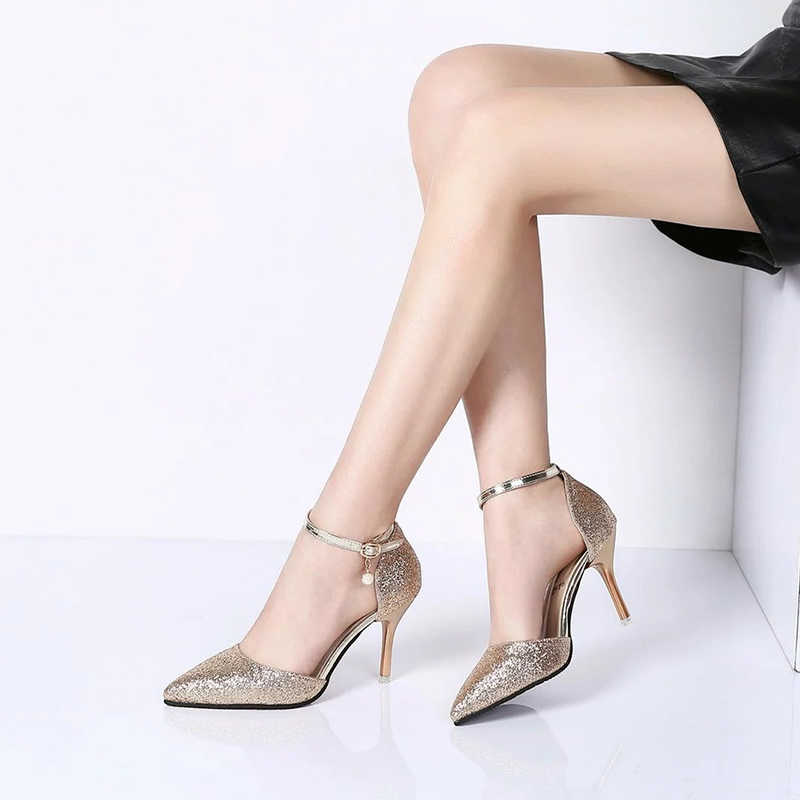 c4d14161daa0 ... Fashion Buckle Crystal Bling Pumps Women Elegant Thin High Heels Point  toe Party Wedding Shoes Woman ...