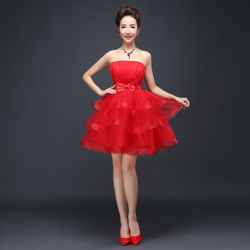Fashion Layered Children Party Prom Flower Girl Red Dress Princess Size 14 To Size 18 Kids Short Mini Teenage Dresses for Girls