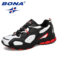 BONA 2019 New Style Sports Shoes Men Sneakers Lace-Up Cow Split Breath