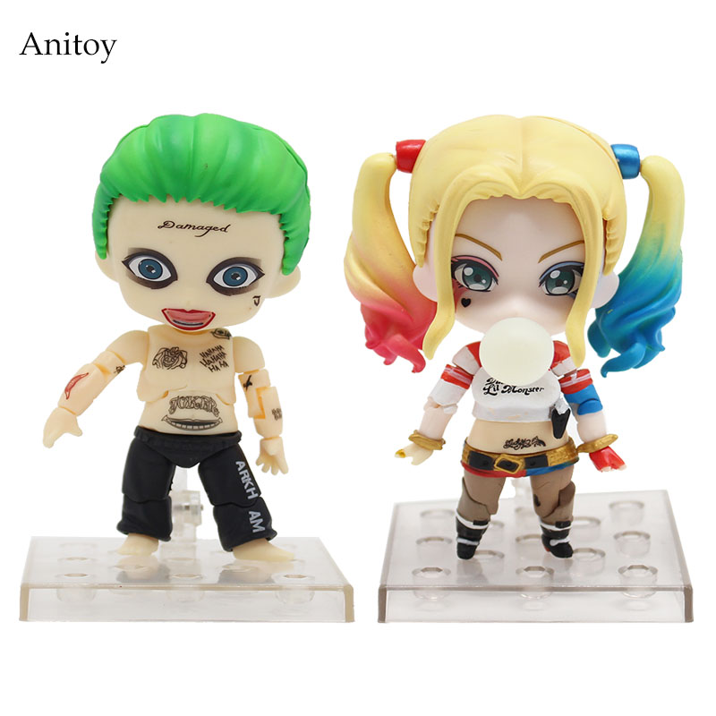 Suicide Squad Joker 671 672 Harley Quinn Nendoroid PVC Figure Collectible Toy 10cm KT4092 suicide squad harley quinn harleen quinzel high quality pu short wallet purse with button