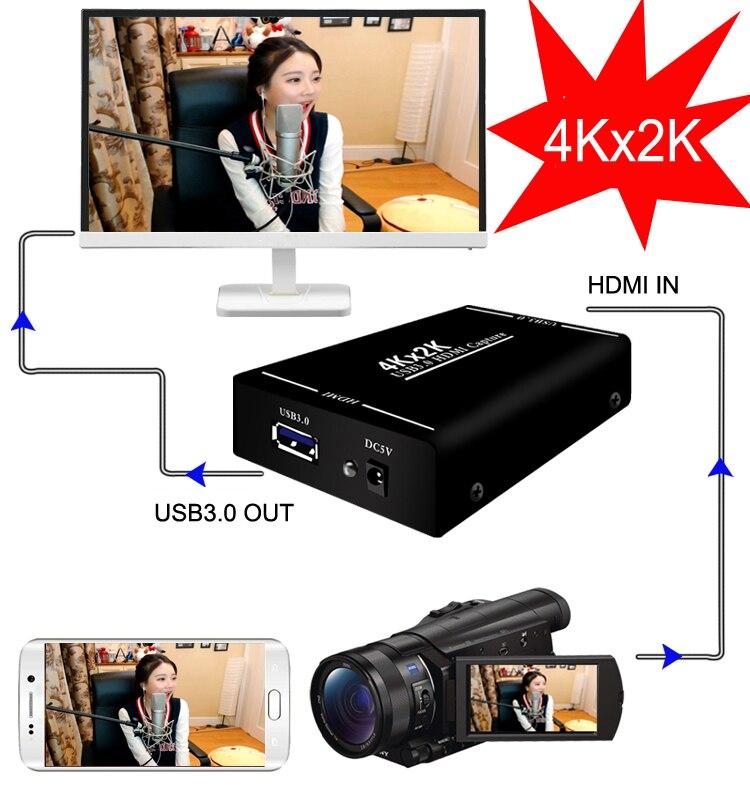4 K x 60FPS 2 K HDMI para USB3.0 1080 P HDMI Caixa de Gravação de Cartão de Captura de Vídeo para MAC do Windows telefone PS4 PS3 Ao Vivo Streaming De Transmissão 4 K