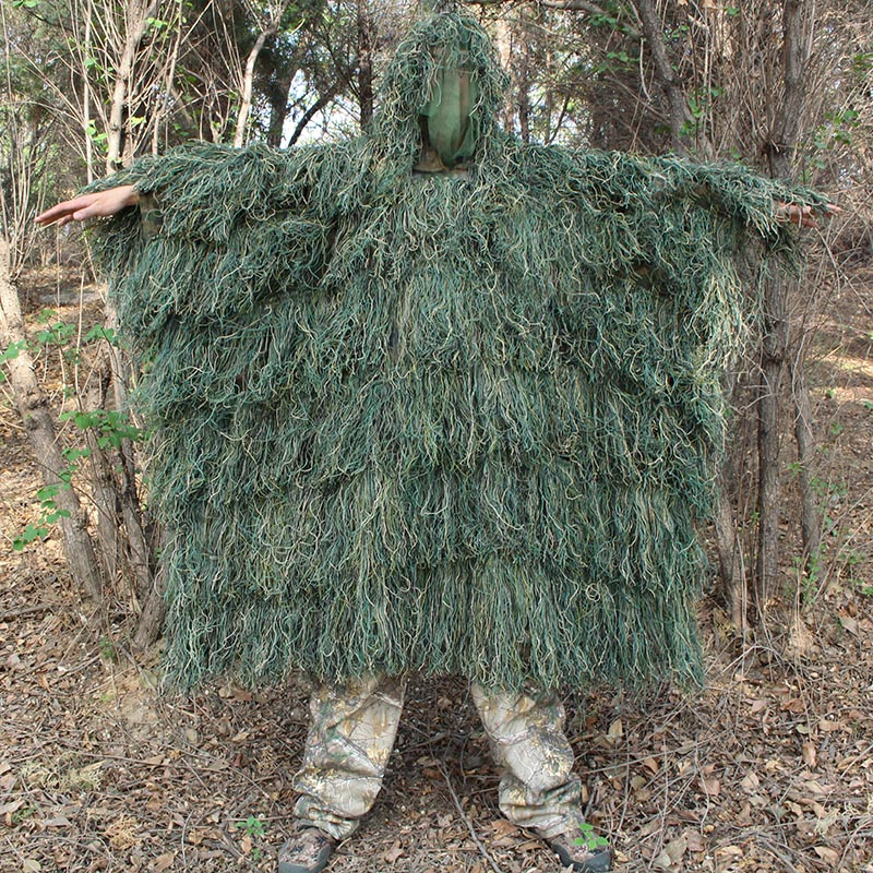 Men Outdoor Hunting Ghillie Suit Ghillie Clothes Top Men Camouflage Hunting Gilley Suit Outdoor Jungle Hunting Cloak Poncho lace see thru cloak top