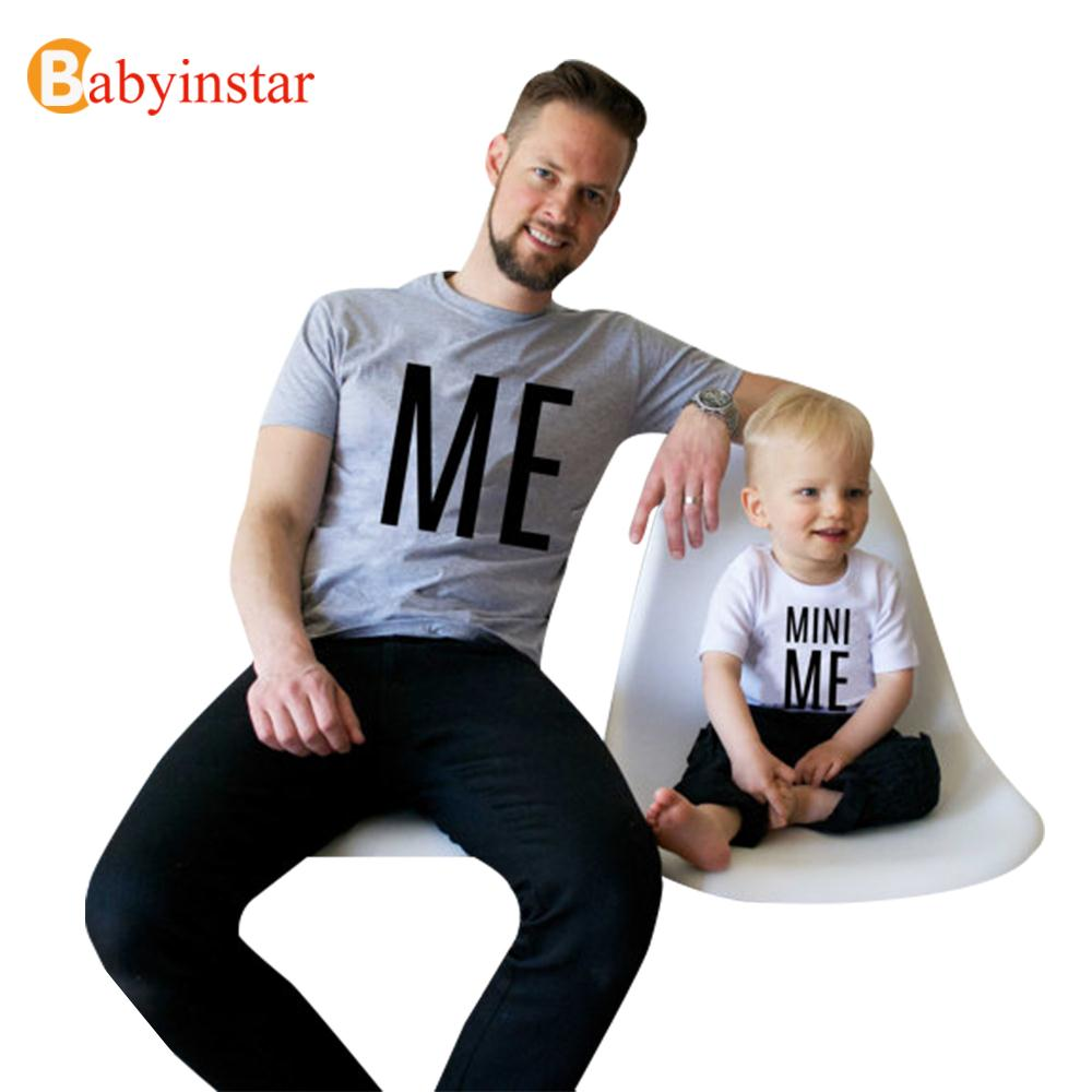 Interessant mønster t-shirt For far søn Matching Clothe Dad kid mini Me Little Big Man Summer Tops Family Matching Outfits