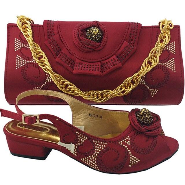 2ad50d3d3ceb6c RUTILANT vin couleur chaussures italiennes avec sacs assortis pour femmes chaussure  africaine et sac ensemble décoré