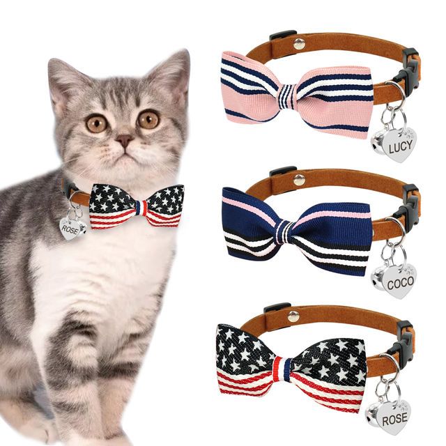 Quick Release Personalized Cat Collar Engraved Name ID Tag Collar Adjustable Cute Custom Kitten Collars For Small Dogs Cats