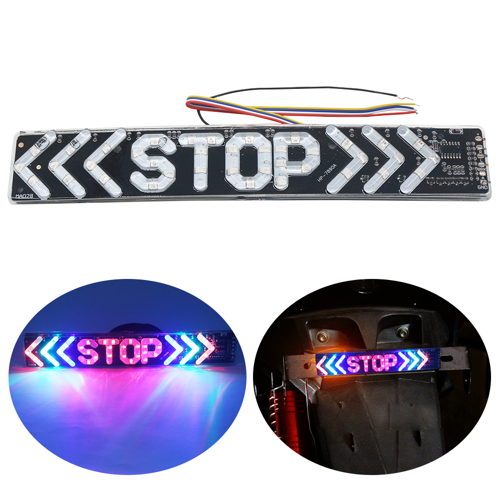 SO.K 1pc LED Motorcycle Light Flash STOP Moto Indicator Lamp Brake Turn Signal Driving Taillight 12V Universal Warning Day Light
