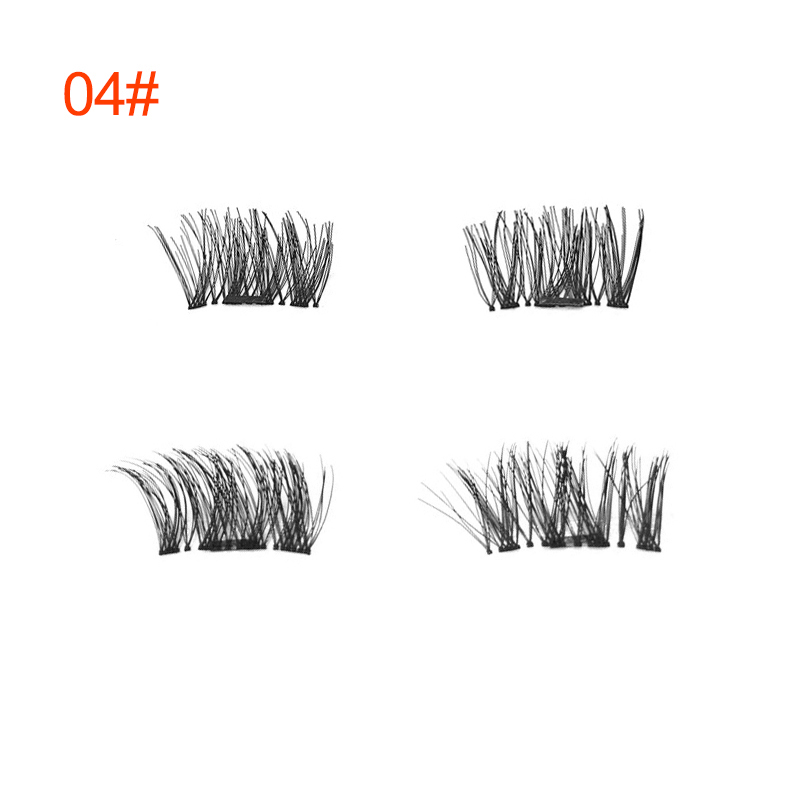 Drop Ship 4pcs =2pair Magnetic Fake False Eyelashes Natural 3D Reusable False Magnet Eyelashes Extension Upper Lower Eyelashes