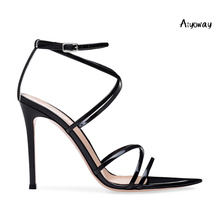 Aiyoway 2019 Spring Women Shoes Pointed Toe High Heels Sandals Cross Strap Ankle Buckle Wedding Party Shoes Black Silver недорого
