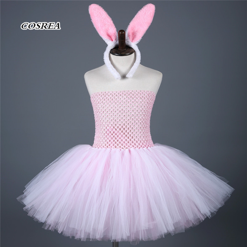 COSPLAY Cute Mini Bunny Girl Dress Pink Colour Fresh Costumes Rabbit Ear Headwear Suit Easter Day Cosplay Costume for Kids