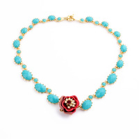 French Les Nereides Luxury Gem Flower Necklace For Women Sweater Dress Necklaces Party Jewelry