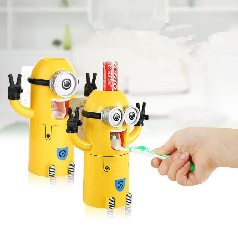 minion bathroom set. Toothpaste Dispenser Kids Minion Bathroom Set Multipurpose Cute Toothbrush  Holder Automatic Porta Pasta in Accessories Sets