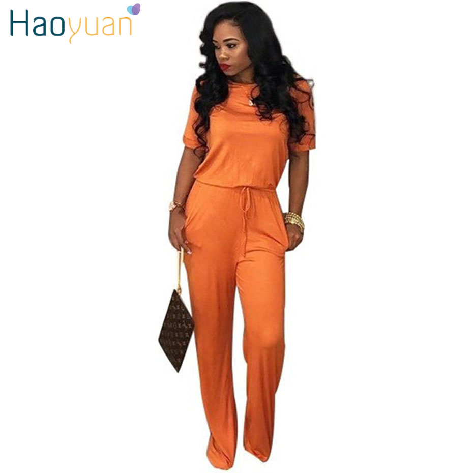 HAOYUAN Casual Rompers Womens   Jumpsuit   2018 New Summer Overalls Long Pants Sexy Bodysuit Streetwear Spandex Body Woman Rompers