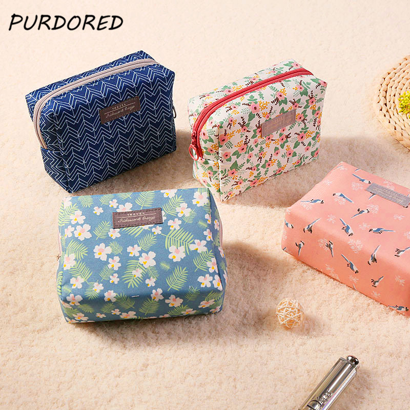 PURDORED 1 pc Floral Bird Cosmetic Bag Korean Style Mini Purse Travel Wash Bag Beauty Pouch  Makeup Bag Organizer Dropshipping PURDORED 1 pc Floral Bird Cosmetic Bag Korean Style Mini Purse Travel Wash Bag Beauty Pouch  Makeup Bag Organizer Dropshipping