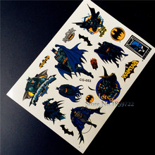 Super Heros Children Batman Cartoon Temporary Tattoos Sticker for Kids, Fake Waterproof Tattoo Paste KIds BOdy ARm Tatoos