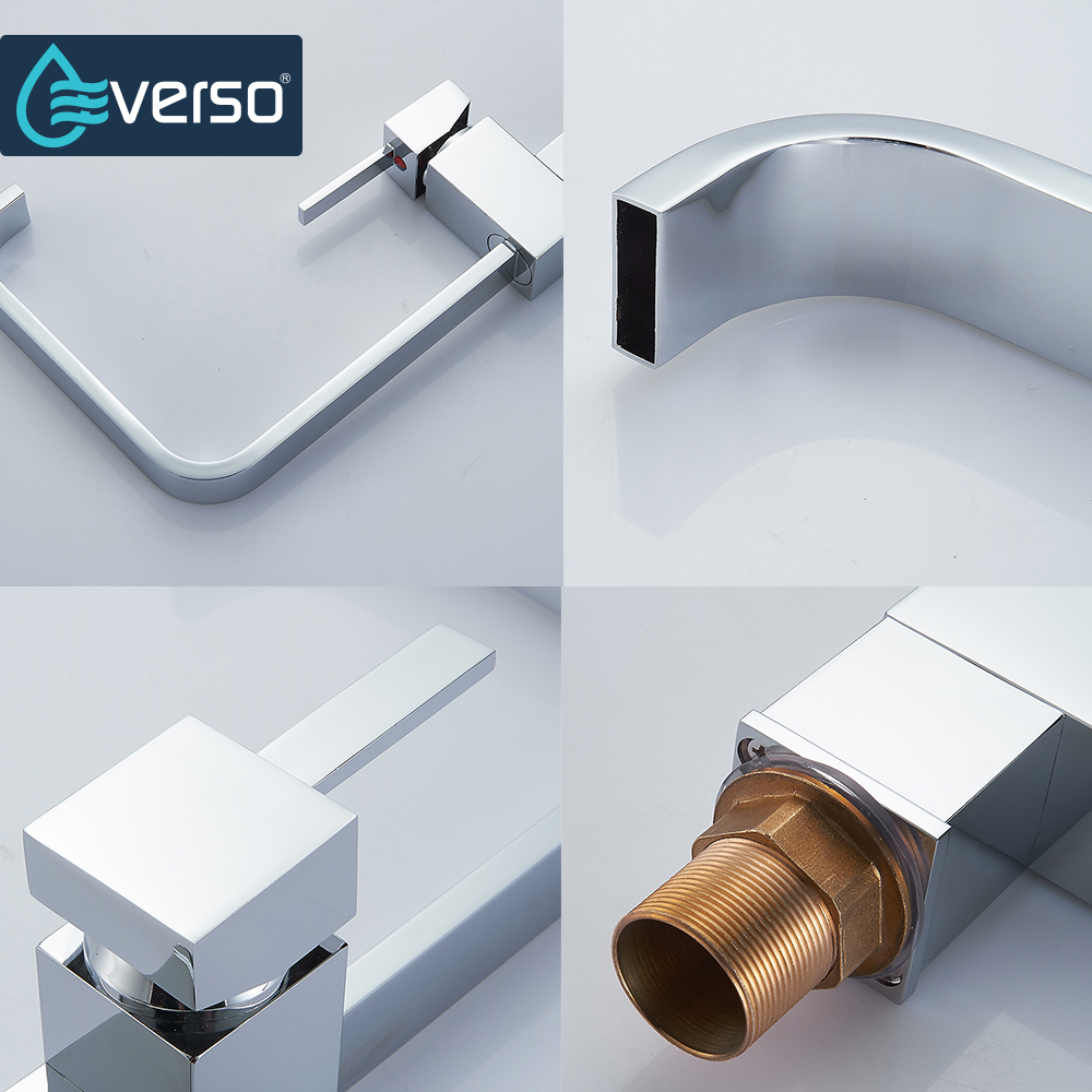 EVERSO Brass Waterfall Kitchen Faucet Sink Mixer Tap Kitchen Taps ...
