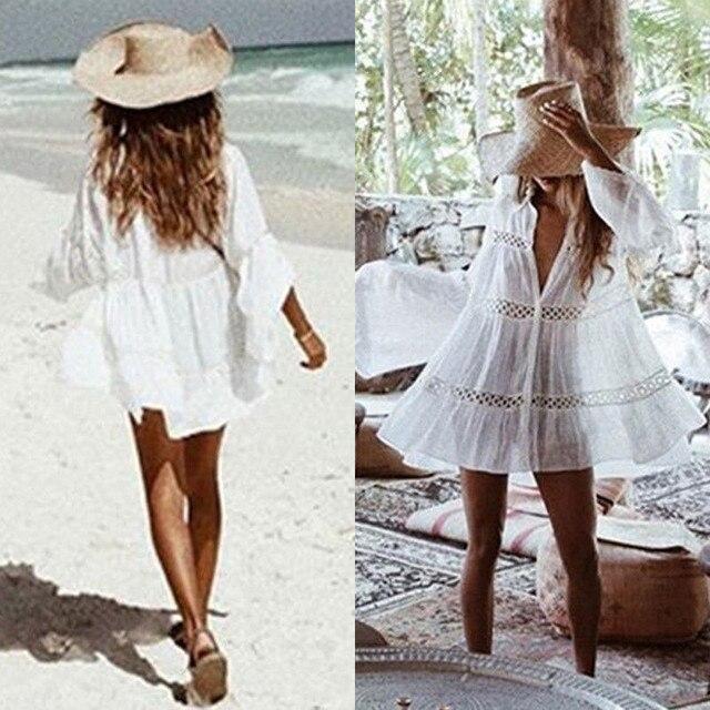 Bikini 2019 Women Cover Up Lace Hollow Crochet Swimsuit Beach Dress Women Summer Ladies Cover-Ups Bathing Suit Beach Wear Tunic 2