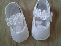Niña Blanca Ocasión Especial de Tela de Satén de La Boda Bautizo Zapatos del Día