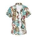 2016 de Moda de Verano de Manga Corta Para Hombre Camisa de Algodón Mercerizado de Lujo Hombre Hawaiano Camisa Más del Tamaño 5XL 6XL