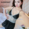 2017 women High quality silk sleepwear women sexy see through lace slips M-L-XL-XXL