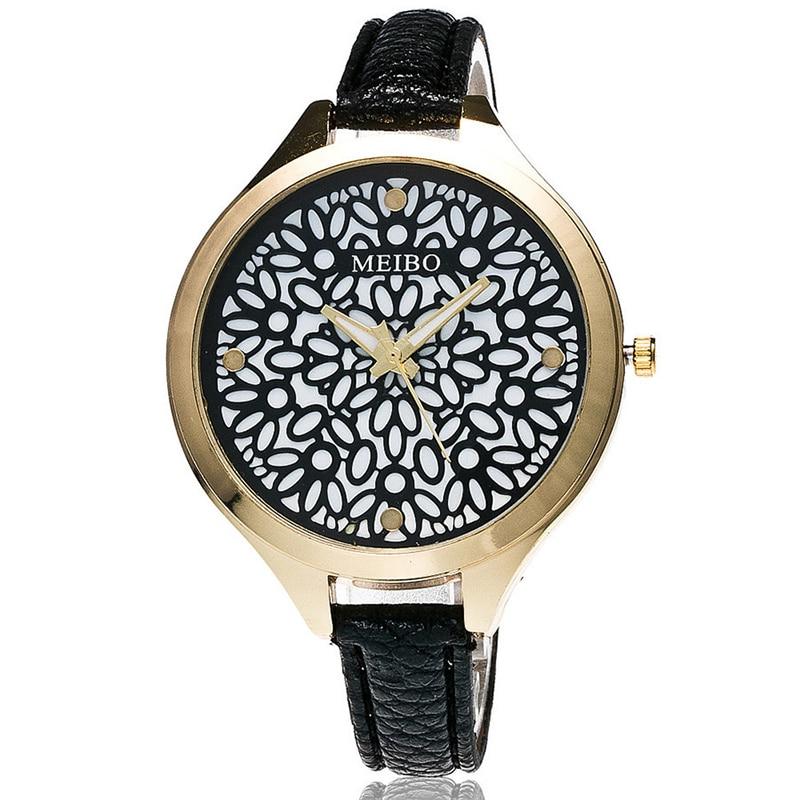 MEIBO Fashion Women Hollow Flower Wristwatch Luxury Leather Strap Quartz Watch Female watch Gift fashion women watch inbuilt artificial diamond leather strap quartz wristwatch
