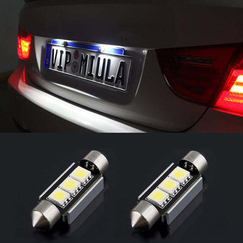 BOAOSI 2x Dome Festoon 5050SMD Error free Bright White LED License Plate Light For BMW E46 E90 E92 E39 E53 E60 E71 Mini Cooper cn360 2pcs extremely bright canbus error free 31mm 36mm 39mm 41mm festoon dome c5w car led light bulb