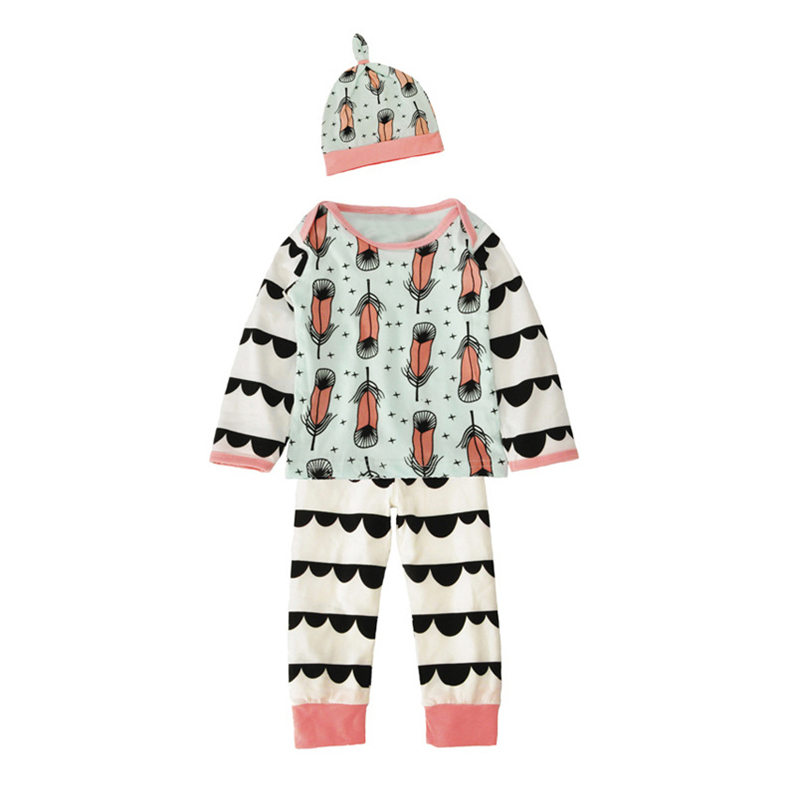 3PCS Newborn Spring Cotton Children Baby Boys Girls Sets Clothes O-Neck Clothing Sets Boy Long sleeve T Shirt+Hat+Pants