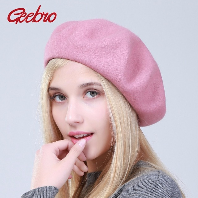 43900a8f9619e Geebro Spring Women s Beret Hat Fashion Solid Color Warm Wool Berets for Women  French Artist Beanie Beret Hats for Girls DQ102