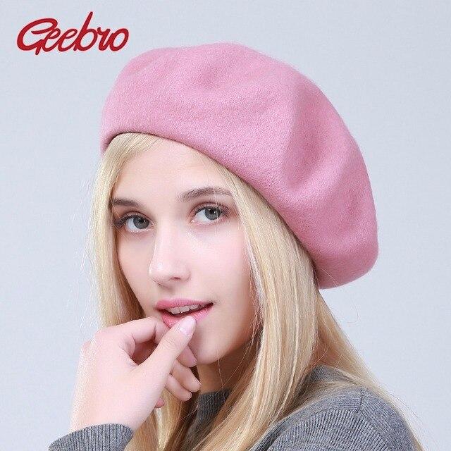 Geebro primavera moda mujer sombrero boina color sólido de lana caliente Boinas  para las mujeres francés bdaa4f055ef