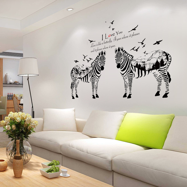 Forest Silhouette Couples Zebra Wall Stickers Vinyl DIY Art Wall Decals For  Living Room Sofa Background