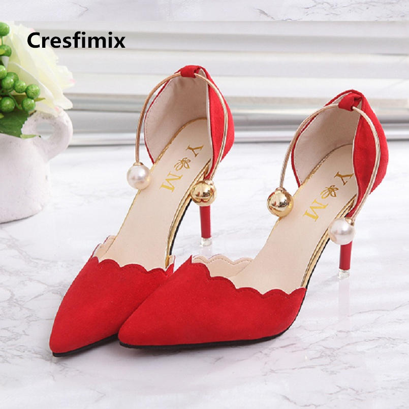 Cresfimix women fashion pointed toe 7cm high heel shoes lady sexy red wedding high heels with pearl deco female party shoes a887 baoyafang new arrival ladies shoes fashion pointed toe high heels pumps women office shoes 7cm heel sexy girls wedding shoes