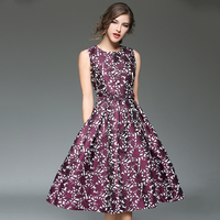 Floral Printed Women Tank Dresses O Neck High Waist Vestidos Mujer Sashes Jacquard Dress Feminine Plus