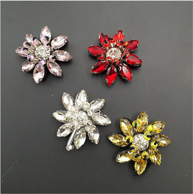 1pc Sequined flower Patch for Clothes Sewing on Rhinestone Beaded Applique  for Jackets Jeans Bags Shoes acff4767affb