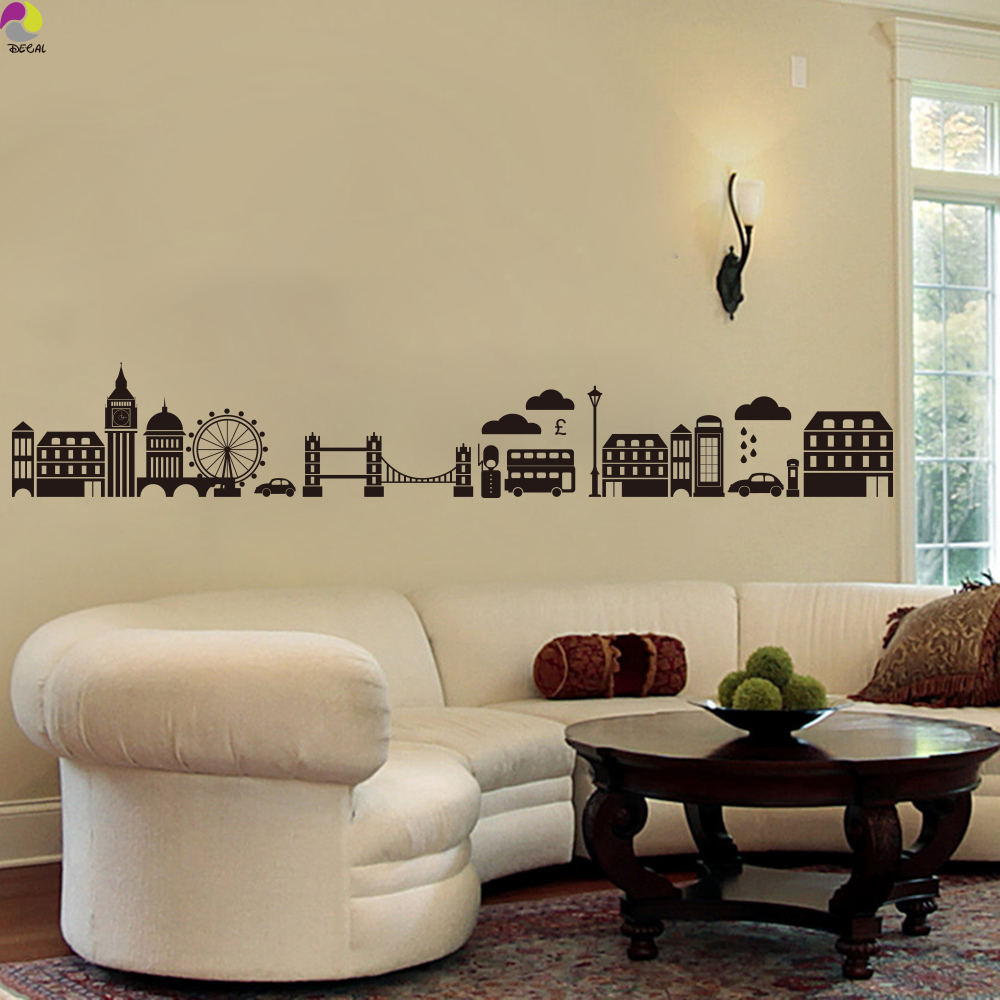 London Skyline Wall Sticker Living Room Sofa London Landmark Wall ...