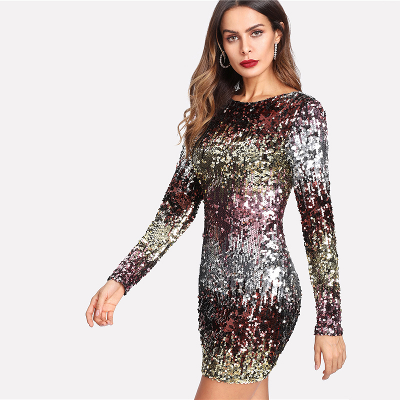 COLROVIE Iridescent Sequin Dress 2018 Round Neck Long Sleeve Sexy Party Dress With Zipper Women Sheath Autumn Short Dress 13