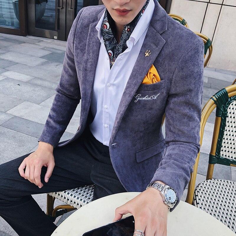 Corduroy Blazer Men Slim Fit Green Khaki Grey 2018 Male Blazer Suit Jacket Gold Embroidery Terno Masculino Korean Men Blazer