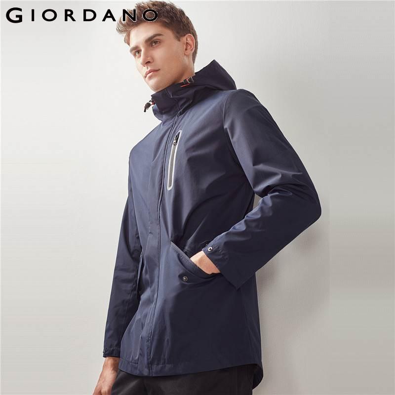 Giordano Men Jacket Hooded Drawstring Waterproof Overcoat Long Sleeves Elastic Waistband Coat Solid Pockets Jacket Mens Brand